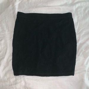Forever 21 Black Miniskirt with floral detailing